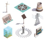 Green Energy Isometric Icons. Green energy production isometric icons set with wind tidal power generators solar station hydroelectric plant vector illustration royalty free illustration