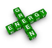 Green energy label. (cubes crossword puzzle Royalty Free Stock Image