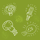 Green Energy Light Bulb Drawing Stock Photos