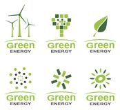 Green energy logo set. In two colours Stock Photo