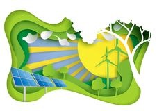 Green energy with nature landscape paper carve concept Stock Photo