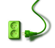 Green energy need concept wall socket Royalty Free Stock Photos