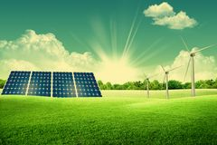 Green energy park. With solar panels and wind turbines royalty free stock image