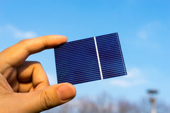 Green energy, Photovoltaic Solar Cell with hand. SONY A7 stock photo