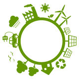 Green Energy Planet Earth. Concept with wind turbines, solar panels, electric car, trees and recycle symbol. Eps file available royalty free illustration