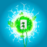 Green Energy Plug Concept Stock Photography