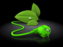 Green energy plug in 3d Stock Photos