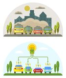 Green energy and pollution cars. Сonceptual image of a green energy and pollute cars. Cartoon flat vector illustration. Objects  on a background Royalty Free Stock Image