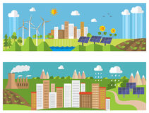 Green energy and pollution. Royalty Free Stock Photos