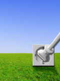Green energy - power outlet, socket, plug Stock Photos
