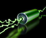 Green energy power supply battery sparks Stock Photography
