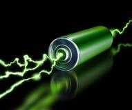 Green energy power supply battery sparks. On dark background royalty free illustration