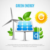 Green Energy Realistic Vector Illustration. With wind turbines solar panels ecologically clean battery symbols Stock Illustration