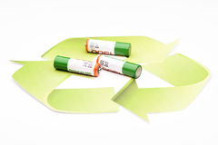 Green energy recycling battery Stock Image