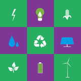 Green energy and recycling icons set Royalty Free Stock Photos