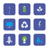 Green energy and recycling icons set Royalty Free Stock Image