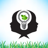 Green energy saving and cogs working together idea  Royalty Free Stock Photography