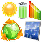 Green Energy Set. Solar Panel, Energy Efficiency Rating, Sun, Battery and Earth with Environmental Arrows, vector isolated on white background Royalty Free Stock Image