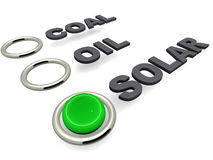 Green energy solar. Green energy concept, coal, oil or solar, with solar selected, the choice is an obvious green energy option stock illustration