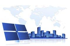 Green Energy - Solar Panel and Cityscape Royalty Free Stock Photos