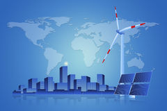 Green Energy - Solar Panel, Wind Turbine and Cityscape Stock Photography