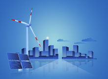 Green Energy - Solar Panel, Wind Turbine and Cityscape Royalty Free Stock Photos