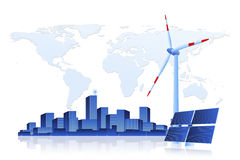 Green Energy - Solar Panel, Wind Turbine and Cityscape Stock Photo