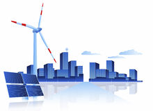Green Energy - Solar Panel, Wind Turbine and Cityscape Royalty Free Stock Image