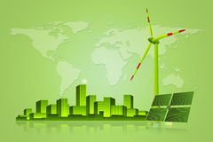 Green Energy - Solar Panel, Wind Turbine and Cityscape Stock Image