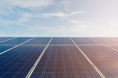 Green energy with solar panels outdoor as alternative power in r. Enewable resource royalty free stock photos