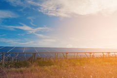 Green energy with solar panels in renewable power plant. Solar panel at solar power plant to innovation of green energy for life stock photography