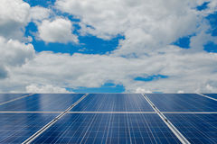 Green energy with solar panels in renewable power plant. Solar panel at solar power plant to innovation of green energy for life royalty free stock image