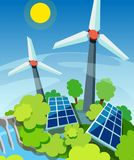 Green energy. Solar panels, wind generators and hydroelectric station. Eco friendly technology. Concept Royalty Free Stock Photos