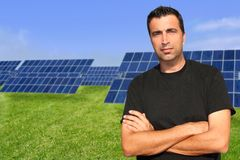 Green energy solar plates man portrait ecology Stock Image