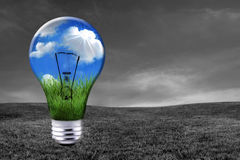 Green Energy Solutions With Light Bulb Morphed Int Royalty Free Stock Image