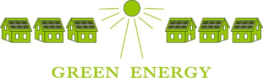 Green energy with sun energy. Green energy through six houses with solar panels as business logo Stock Illustration
