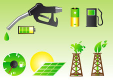 Green energy symbols. Abstract vector illustration of green energy symbols Stock Photo