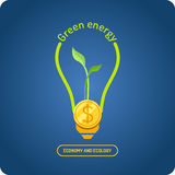 Green energy. Vector illustration. Poster about ecological energy on a dark blue background Royalty Free Stock Photography