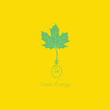 Green energy vector logo design and bulb with yellow background Royalty Free Stock Photo