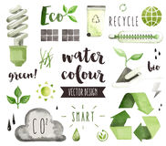 Green Energy Watercolor Vector Objects royalty free illustration