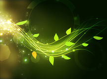 Green energy waves with leaf Royalty Free Stock Images