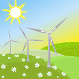 Green energy of wind. Wind mill turbine in a farmland for green energy stock illustration