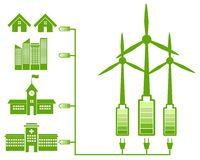 Green Energy From Wind Mill And Green Icon Stock Photo