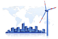 Green Energy - Wind Turbine and Cityscape Royalty Free Stock Images