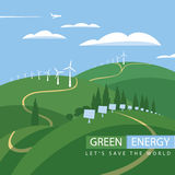 Green energy, wind turbines and solar panels Royalty Free Stock Images