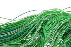 Green energy wires isolated on white background Stock Photos
