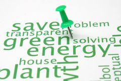 Green energy word cloud. Close up of Green energy word cloud Royalty Free Stock Images