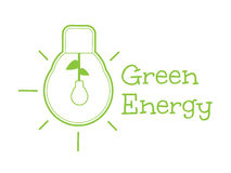 Green energy word combined with light bulb. Vector illustration Stock Image