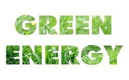 Green energy words concept. Isolated on white background Stock Images