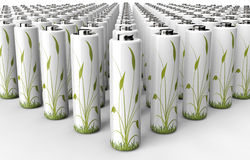 Green engery concept battery with plant on it Stock Photo